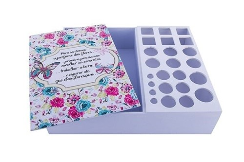 Caixa para Maquiagem Floral Turquesa - Compre na Imagina só