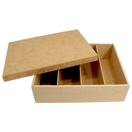 Caixa para Vinho ou Champagne Mini e Taça 4 Divisões Tampa de Sapato Lisa - Palácio da Arte