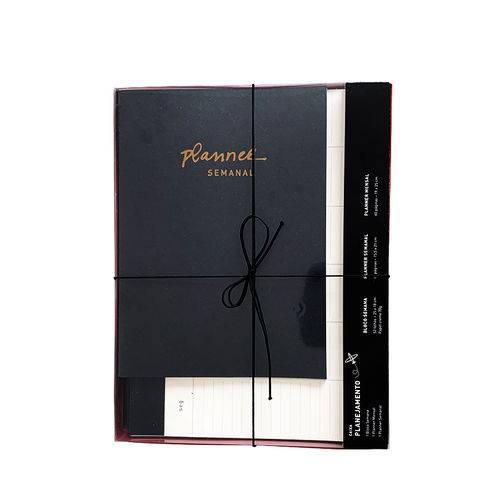 Caixa Planejamento Mensal - Teca - Preto Metalizado