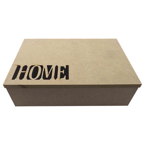 Caixa Retangular em MDF com Dobradiça Home 24,7x16,5x7,2cm - Palácio da Arte