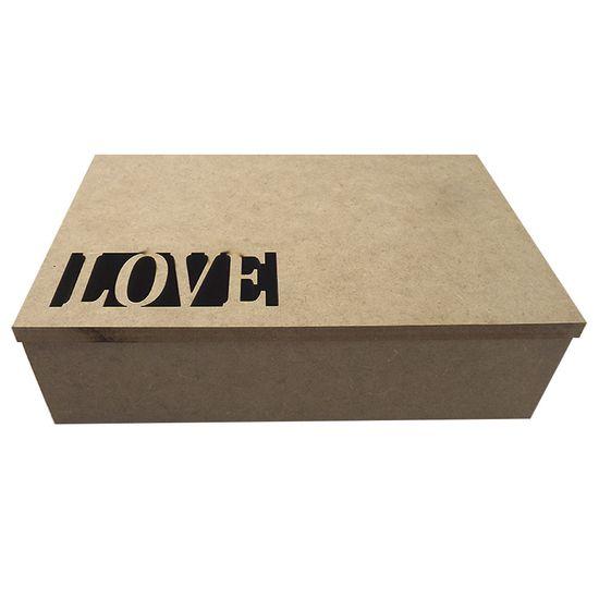 Caixa Retangular em MDF com Dobradiça Love 24,7x16,5x7,2cm - Palácio da Arte