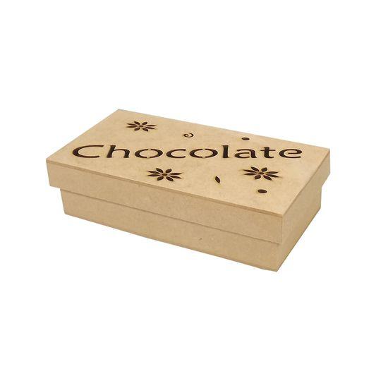 Caixa Tampa de Sapato Chocolate Flores em MDF 19,5x10,3x5cm - Palácio da Arte