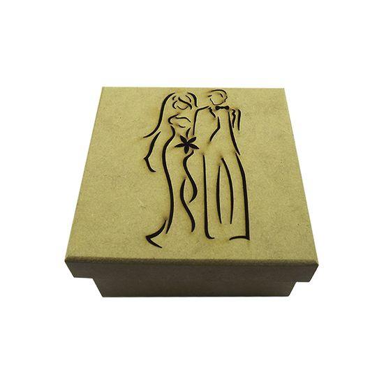 Caixa Tampa de Sapato Noivos Elegante em MDF 10x10x5cm - Palácio da Arte