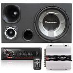 Caixa Trio Pioneer 350w Sub 12 + Módulo Taramps + Radio Mp3