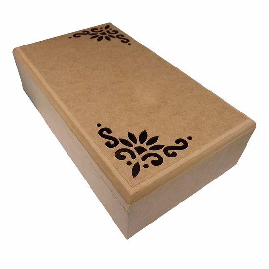 Caixa Tupiada em MDF com 8 Divisões Flores 38,5x22cm - Palácio da Arte