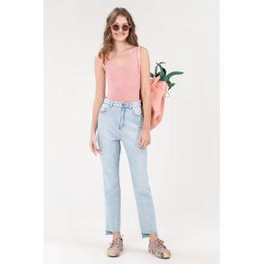 Calca Alta Barra a Fio Jeans - 40