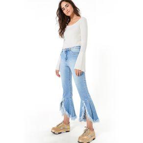 Calca Alta Cropped Babado Jeans - 38