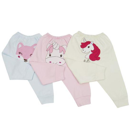 Calça Bebê Feminina Bordada no Bumbum Kit com 3 Unidades-M