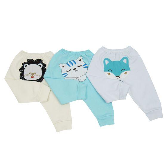 Calça Bebê Masculina Bordada no Bumbum Kit com 3 Unidades-P