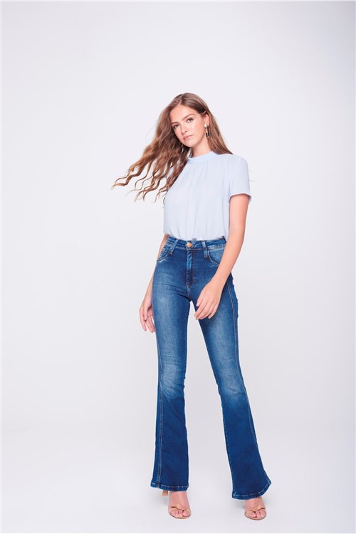 Calça Boot Cut Jeans Detalhe Lateral