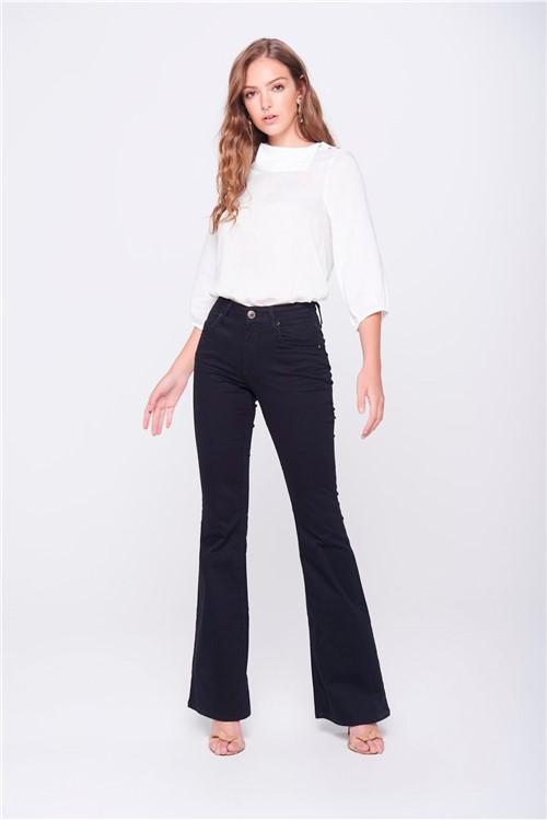 Calça Boot Cut Preta Jeans Cintura Alta