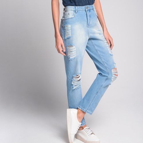 Calça Boyfriend Destroyed Jeans Azul - 40
