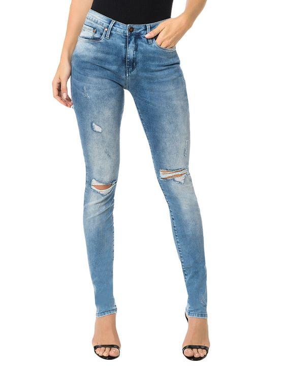 Calça Calvin Klein Jeans Five Pockets Jegging High Azul Claro - 38