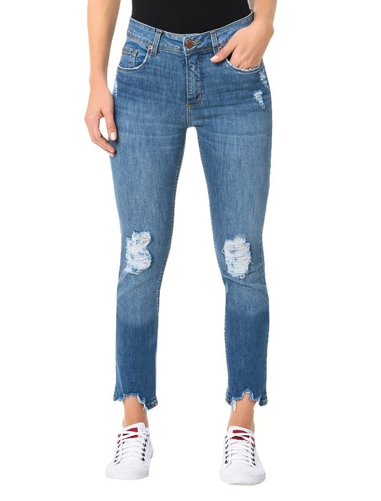 Calça Calvin Klein Jeans Five Pockets Skinny High Azul Médio - 34