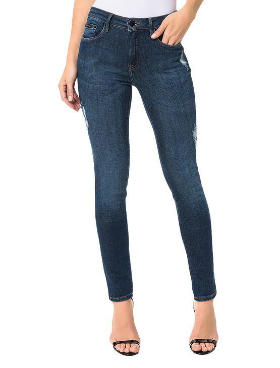 Calça Calvin Klein Jeans Five Pockets Straight High Marinho - 42