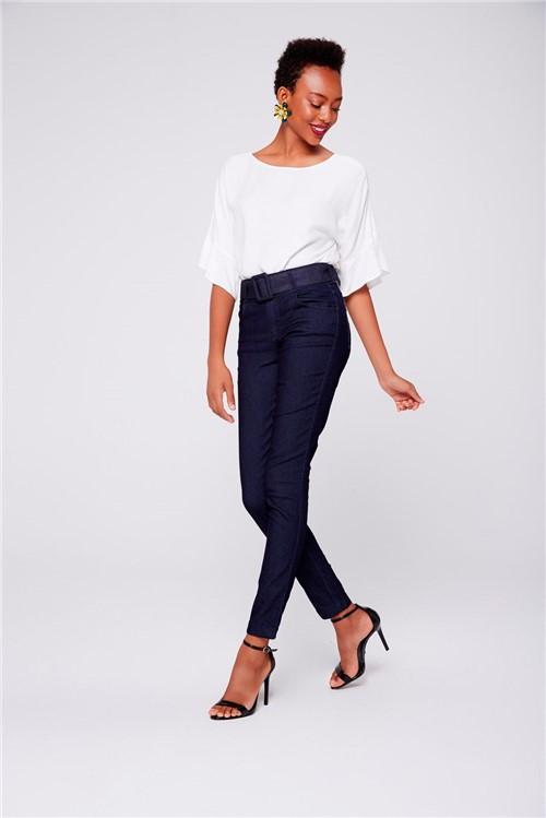 Calça Cigarrete Feminina com Cinto Jeans