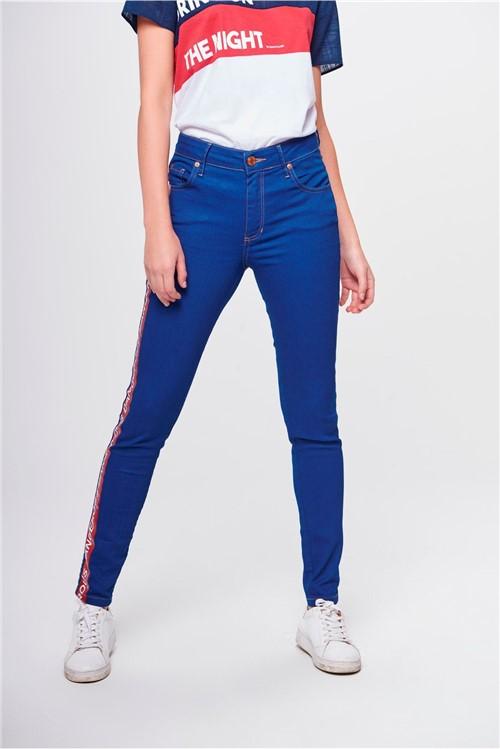 Calça Cigarrete Jeans com Faixa Lateral