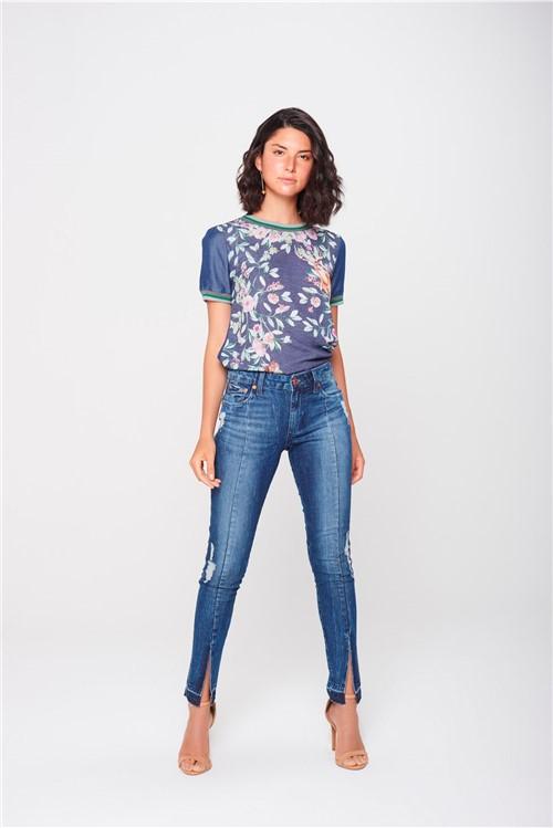 Calça Cigarrete Jeans com Fenda Frontal