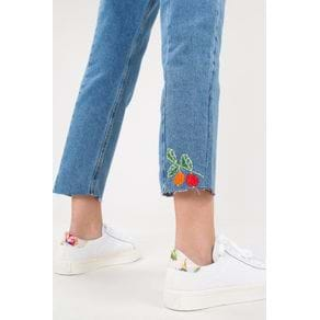 Calca Cintura Alta Bordado Jeans - 40