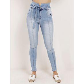 Calça Clochard Jeans Cigarrete Feminina Mokkai Azul 38