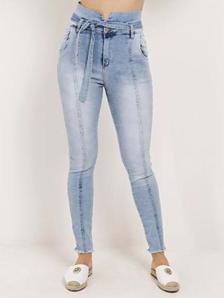 Calça Clochard Jeans Cigarrete Feminina Mokkai Azul