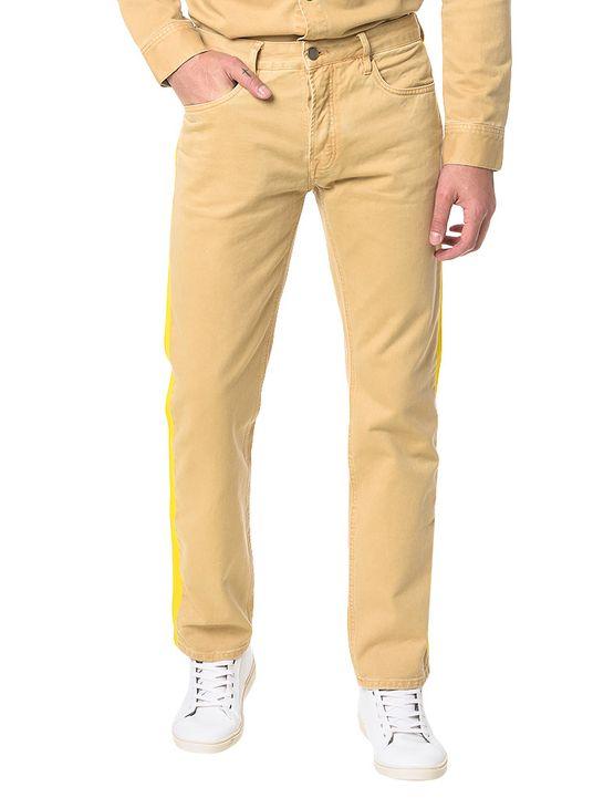 Calça Color Calvin Klein Jeans Five Pockets Straight Caqui Claro - 38