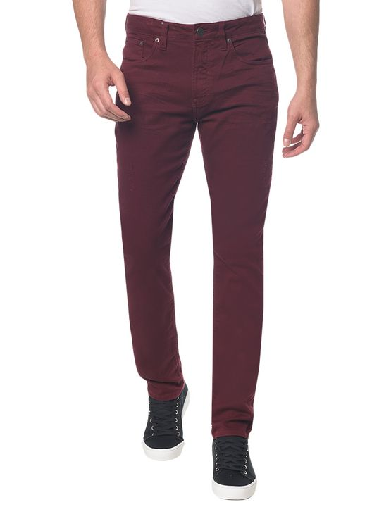 Calça Color Five Pockets Slim - Bordo - 36
