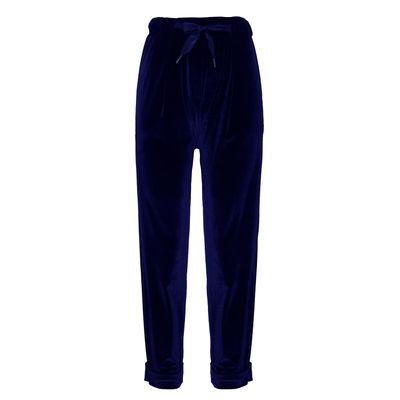 Calça Confort Veludo Azul Marinho G