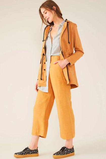Calça Cropped Cantão Sarja Rustica - Amarelo
