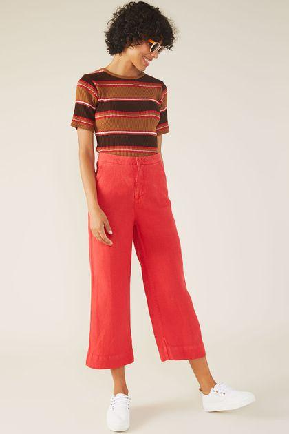 Calça Cropped Cantão Sarja Rustica - Vermelho