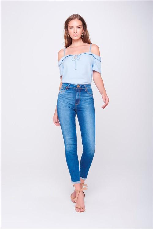 Calça Cropped Jeans Cintura Altíssima