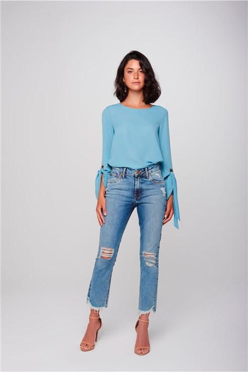 Calça Cropped Jeans Destroyed Feminina