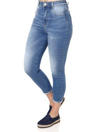 Calça Cropped Jeans Feminina Sawary Azul