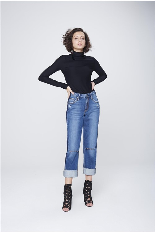 Calça Cropped Jeans Patch Lateral