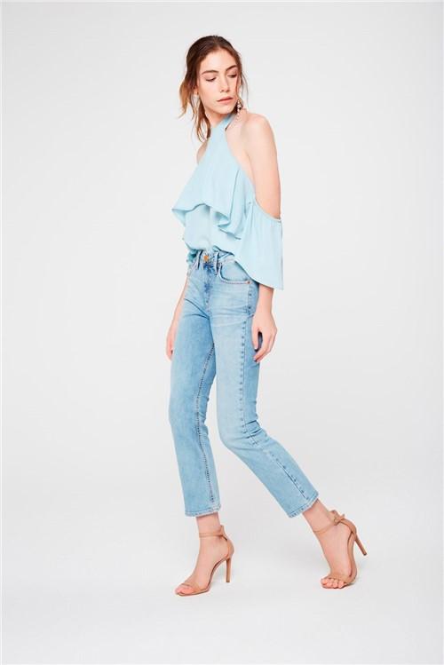 Calça Cropped Reta Jeans Claro Feminina