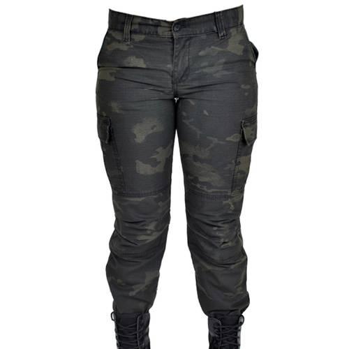 Calça Feminina Camuflada Estonada Woodland Black