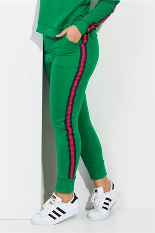 Calça Feminina Moletom com Listra Lateral Gucci CL0499 Kam Bess