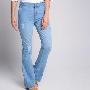Calça Flare Destroyed Jeans Azul - 44