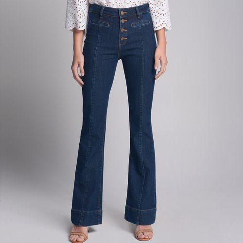 Calça Flare Jeans Botões Azul Médio - 46