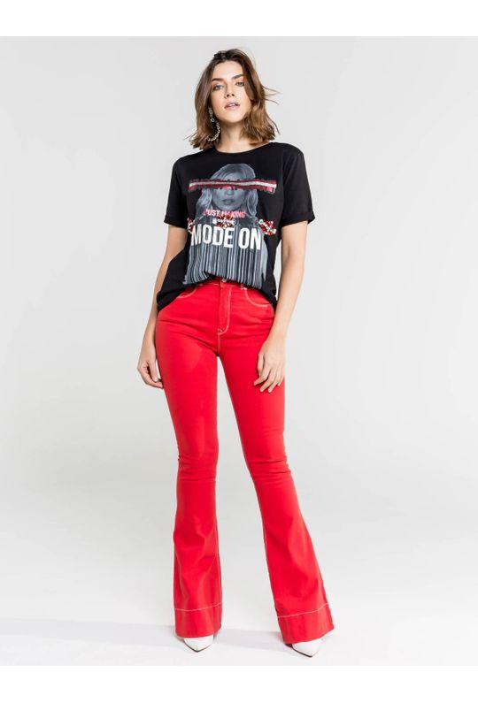 Calça Flare Jeans com Detalhe Pesponto - 38