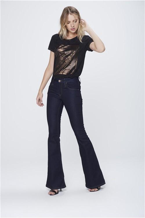 Calça Flare Jeans Escuro Feminina