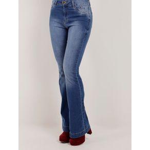 Calça Flare Jeans Feminina Azul 46