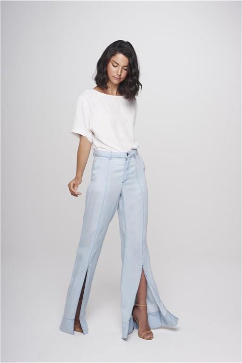 Calça Flare Jeans Feminina Fenda Barra