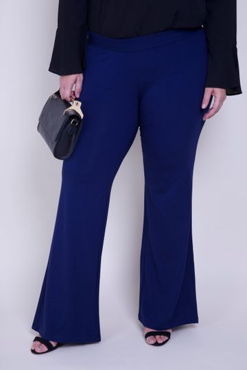 Calça Flare Plus Size Malha Flare Plus Size Malha Azul Marinho GG