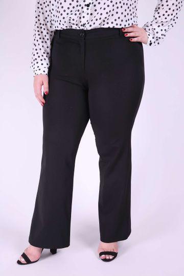 Calça Flare Femenina de Alfaitaria Plus Size Preto 46