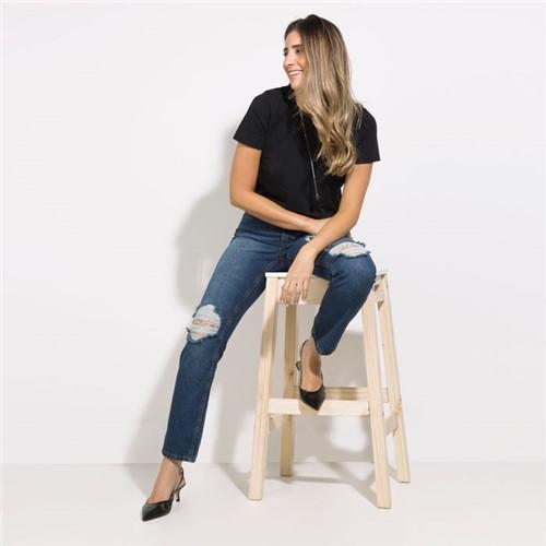 Calça Houston - Jeans Dark Denim Destroyed - 34