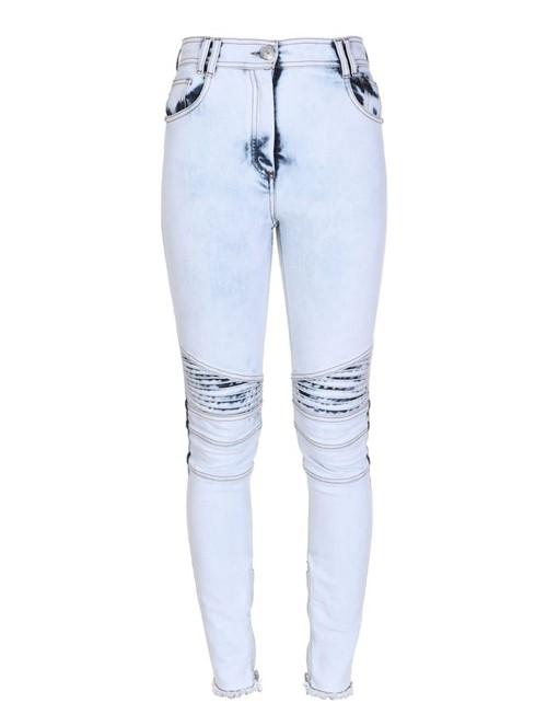Calça Jeans Bleached Biker de Algodão Branca e Azul Tamanho 42