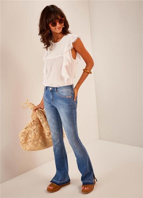 Calça Jeans Bootcut Cintura Média Comfort Fenda JEANS 34
