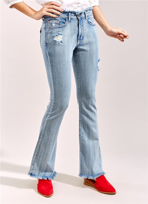 Calça Jeans Bootcut Cós Desfiado JEANS 34
