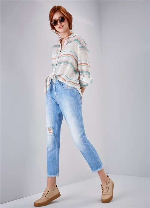 Calça Jeans Boyfriend Cintura Baixa Maracatu JEANS 34